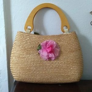 VINTAGE Woven 100% Wheat Straw Wood Top Handle Bag